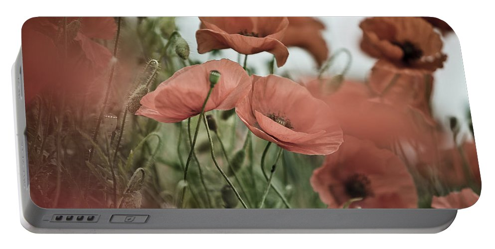Poppy Portable Battery Charger featuring the photograph Poppy Meadow by Nailia Schwarz