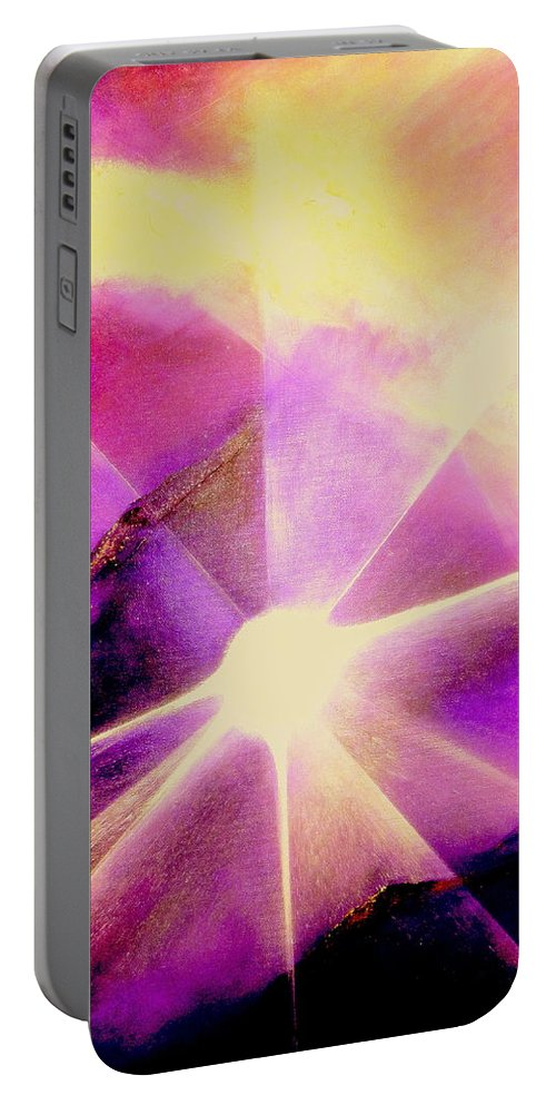 Sunrise.light Portable Battery Charger featuring the painting Rising Sun by Kumiko Mayer