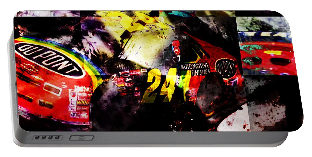 Nascar Portable Battery Charger featuring the digital art 24 by Ken Walker