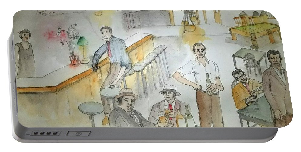 Prohibition. Mobsters. Drinking Parties Portable Battery Charger featuring the painting Italians Ellis Island Prohibition Album by Debbi Saccomanno Chan