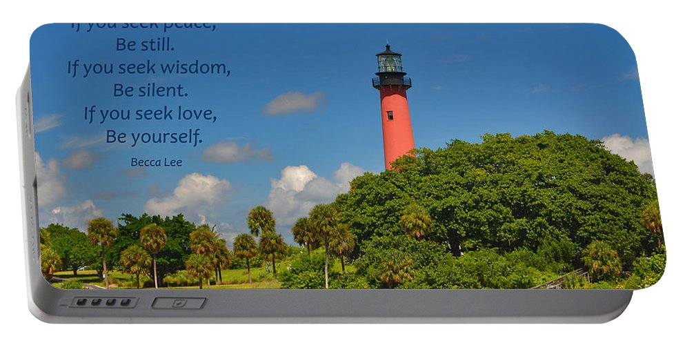 Portable Battery Charger featuring the photograph 255- Becca Lee - Jupiter Lighthouse by Joseph Keane