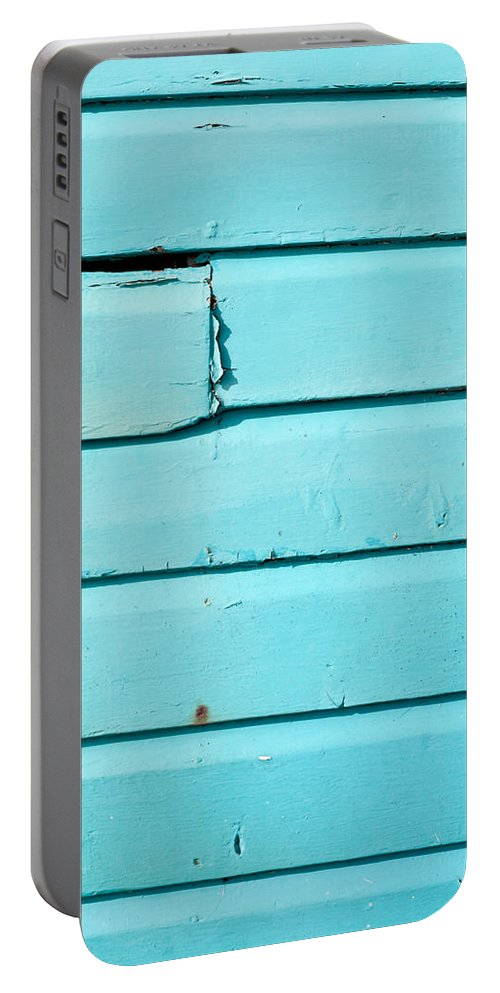 Abstract Portable Battery Charger featuring the photograph Blue Wood by Tom Gowanlock