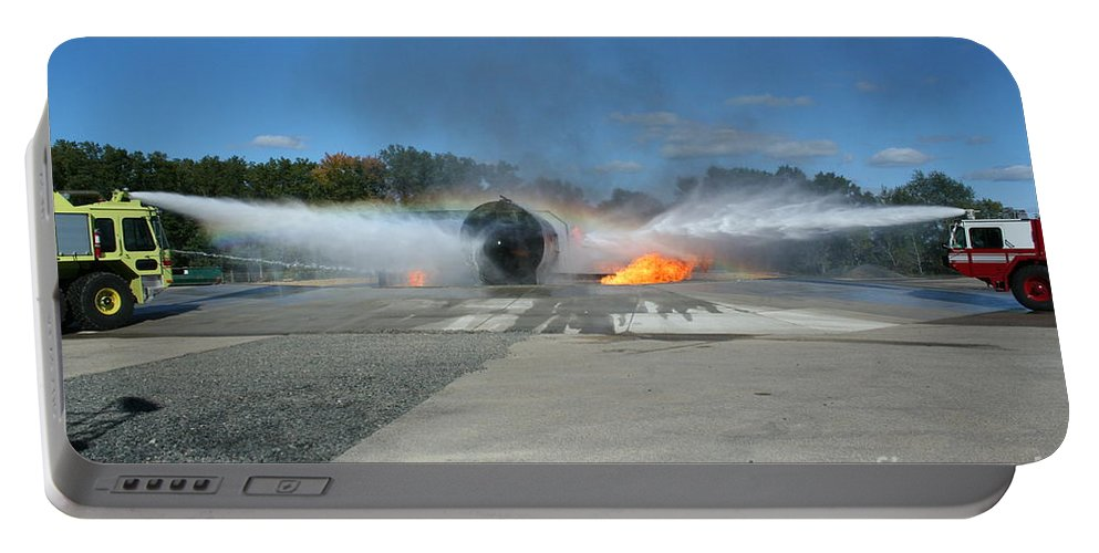 Firefighting Portable Battery Charger featuring the photograph Firefighting by Tommy Anderson