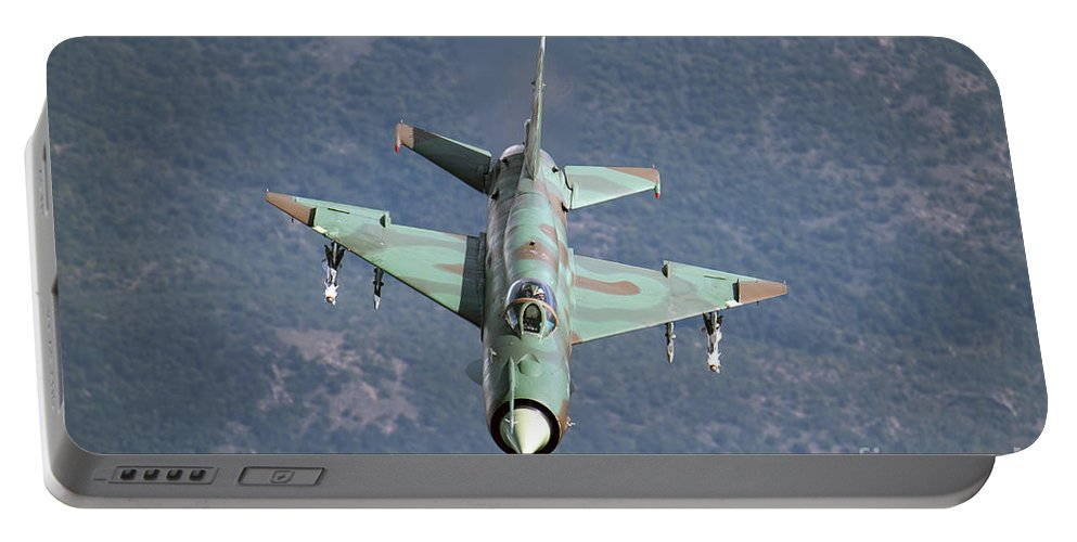 Horizontal Portable Battery Charger featuring the photograph A Bulgarian Air Force Mig-21bis Armed by Daniele Faccioli