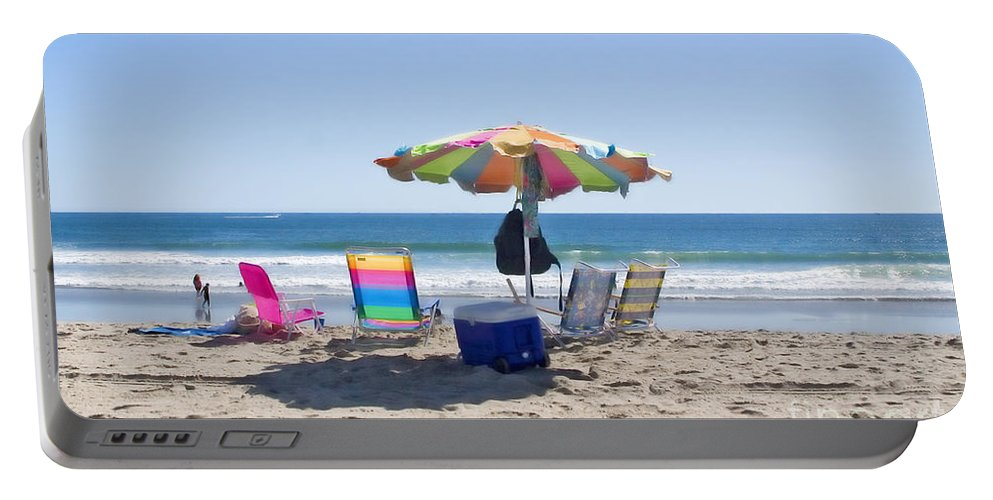 Beach Portable Battery Charger featuring the photograph A Day At The Beach by Madeline Ellis