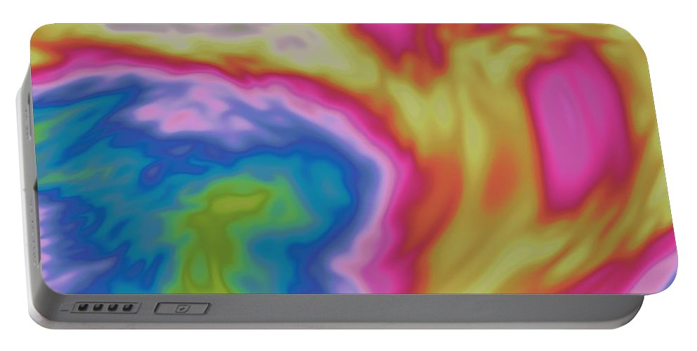 Abstract Portable Battery Charger featuring the digital art Abstract Fractal Background by Miroslav Nemecek