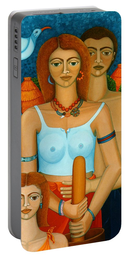 Ages Portable Battery Charger featuring the painting 3 Ages Of A Woman And A Man by Madalena Lobao-Tello