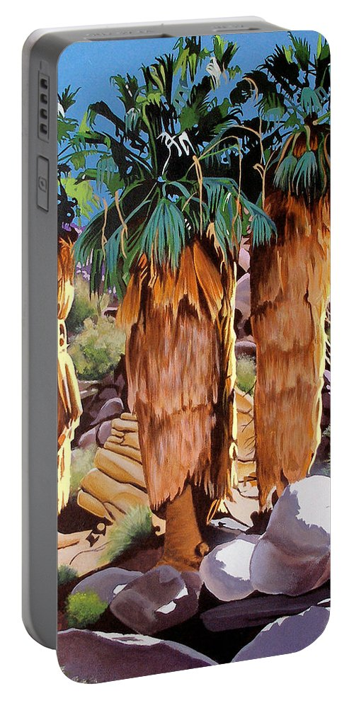 Coachella Valley Portable Battery Charger featuring the painting 3 Amigos by Joe Roselle