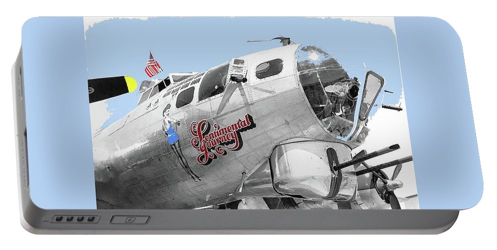 B-17g Flying Fortress Sentimental Journey 2 Avra Valley Arizona 1991 Color Added 2008 Portable Battery Charger featuring the photograph B-17g Flying Fortress Sentimental Journey 2 Avra Valley Arizona 1991 Color Added 2008 by David Lee Guss