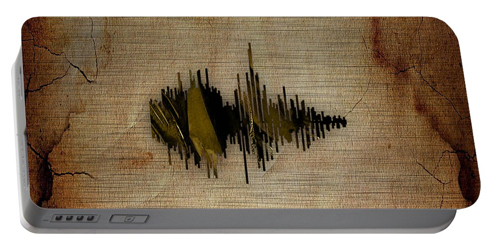 Soundwave Portable Battery Charger featuring the mixed media Believe Recorded Soundwave Collection by Marvin Blaine