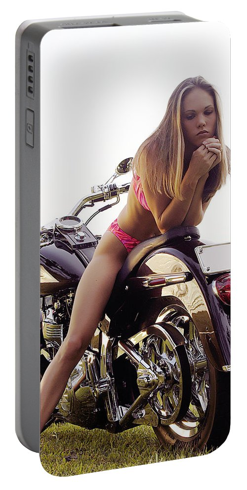 Portable Battery Charger featuring the photograph Bikes And Babes by Clayton Bruster