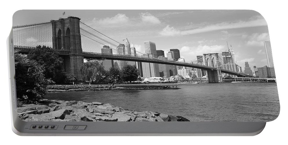 Fine Portable Battery Charger featuring the photograph Brooklyn Bridge - New York City Skyline by Frank Romeo
