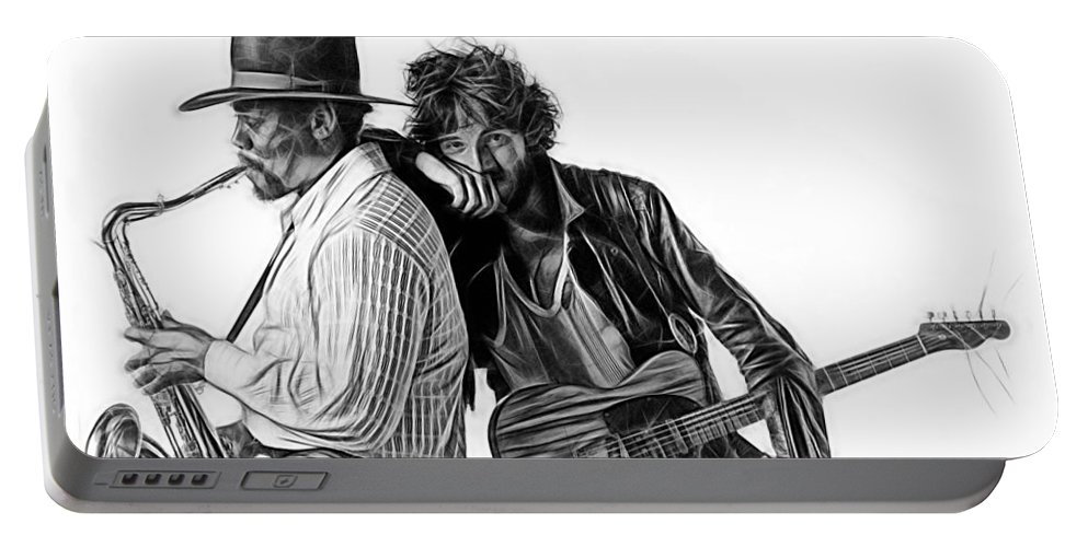 Bruce Springsteen Portable Battery Charger featuring the mixed media Bruce Springsteen Clarence Clemons Collection by Marvin Blaine