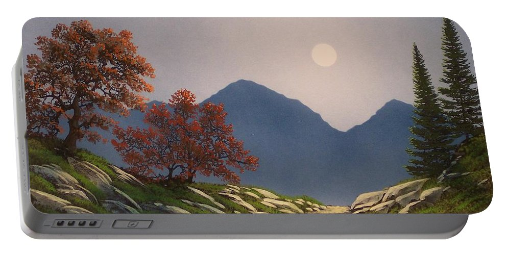 Mountains Portable Battery Charger featuring the painting By The Light Of The Moon by Frank Wilson