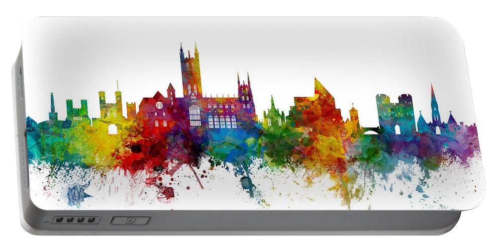 City Portable Battery Charger featuring the digital art Canterbury England Skyline by Michael Tompsett