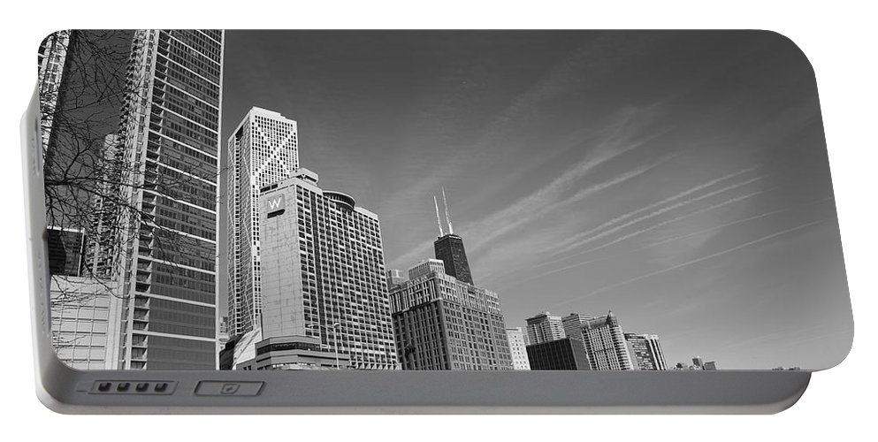 America Portable Battery Charger featuring the photograph Chicago Skyline And Beach by Frank Romeo