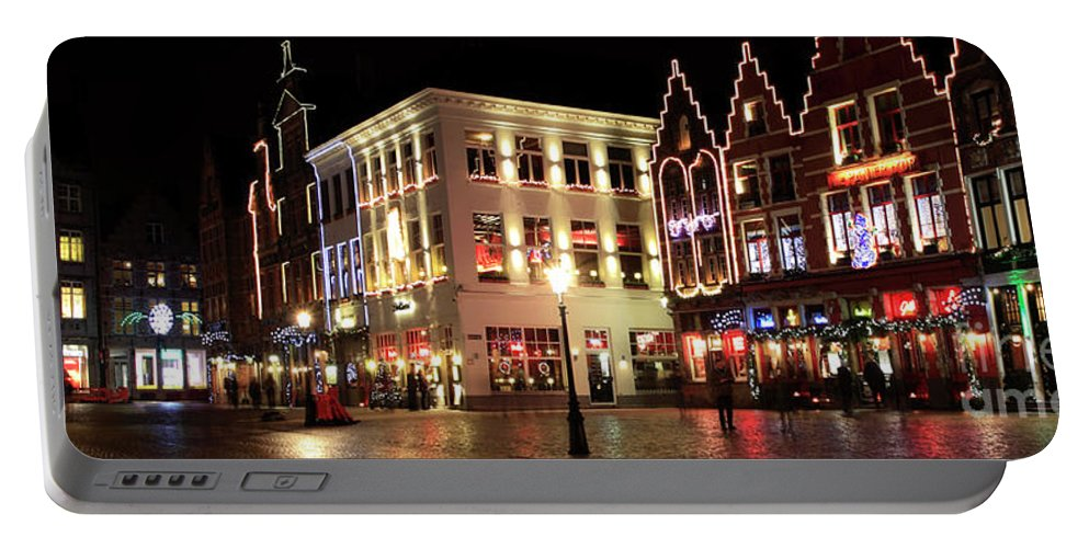 Christmas Decorations Portable Battery Charger featuring the photograph Christmas Decorations On The Buildings, Bruges City by Dave Porter