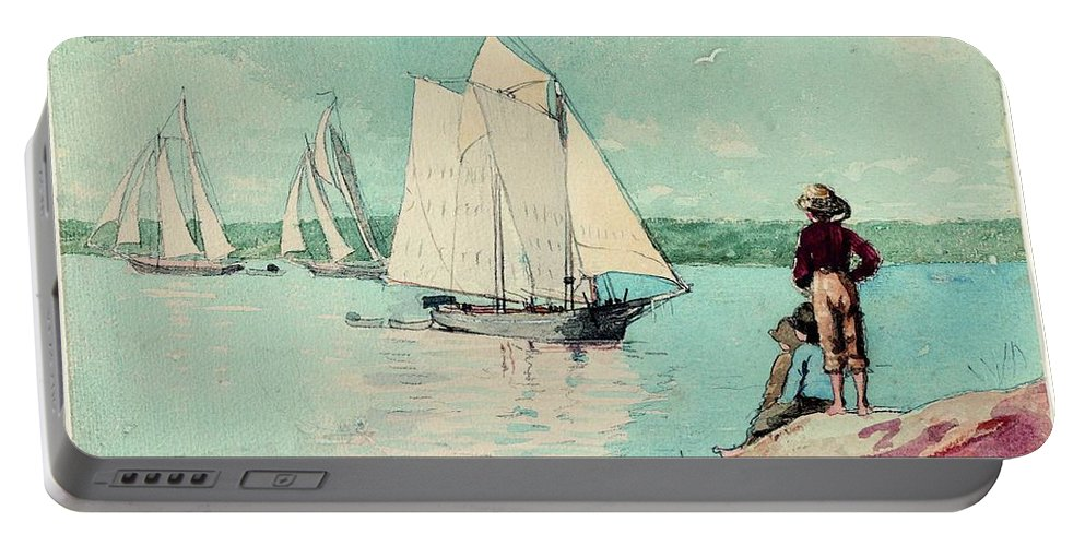 Clear Sailing By Winslow Homer Portable Battery Charger featuring the painting Clear Sailing by Winslow Homer