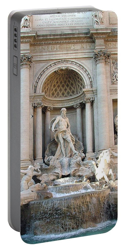 Trevi Portable Battery Charger featuring the photograph 3 Coins In A Fountain by Mindy Newman