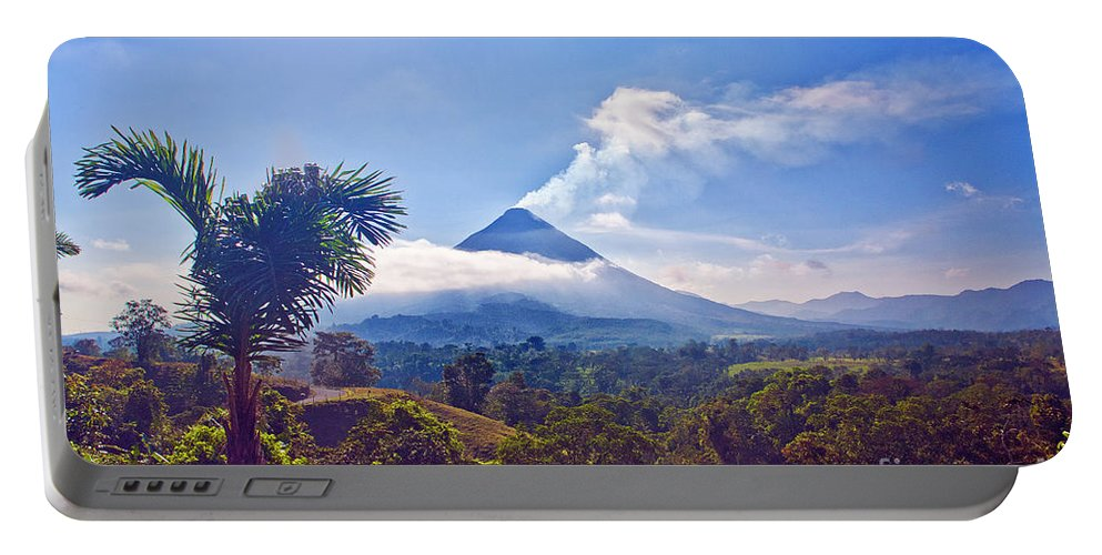 Volcano Portable Battery Charger featuring the photograph Costa Rica Volcano by Madeline Ellis