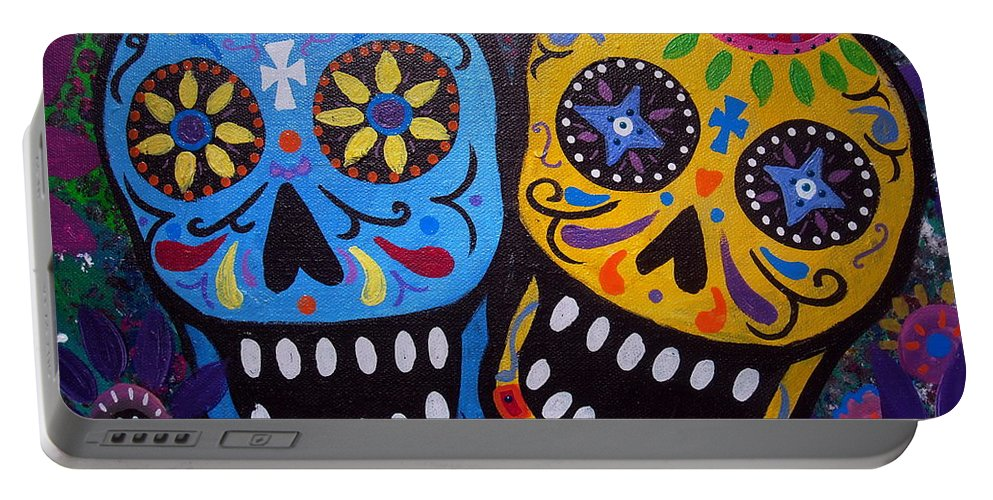 Whimsical Portable Battery Charger featuring the painting Couple Day Of The Dead by Pristine Cartera Turkus