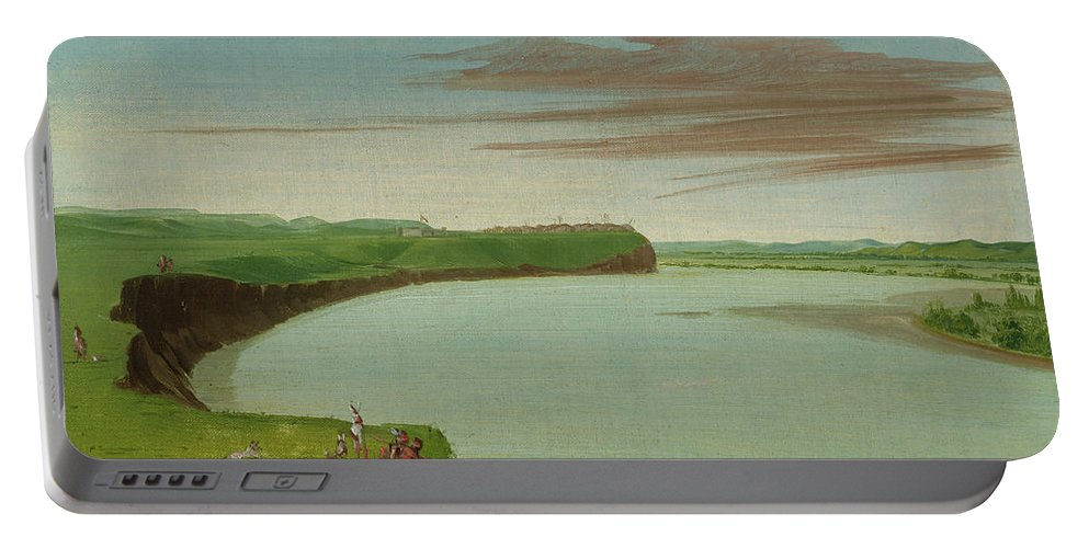 Native America Portable Battery Charger featuring the painting Distant View Of The Mandan Village by George Catlin