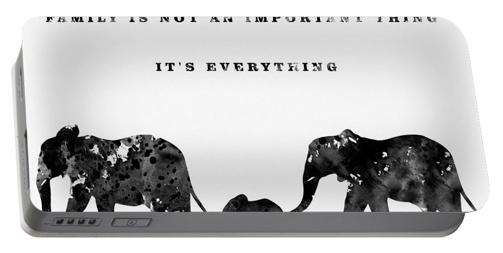 Elephant Family Portable Battery Charger featuring the digital art Elephant Family-black by Erzebet S