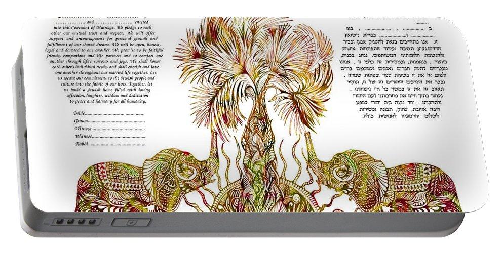 Ketubah Portable Battery Charger featuring the digital art Elephants Ketubah- Reformed Humanistic Version by Sandrine Kespi