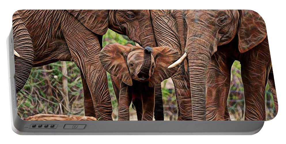Elephant Portable Battery Charger featuring the mixed media Elephants by Marvin Blaine