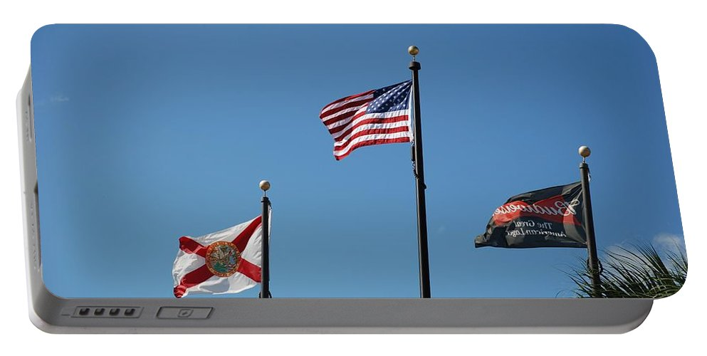 American Flag Portable Battery Charger featuring the photograph 3 Flags by Rob Hans