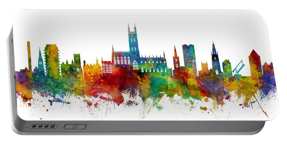 Gloucester Portable Battery Charger featuring the digital art Gloucester England Skyline 3 by Michael Tompsett
