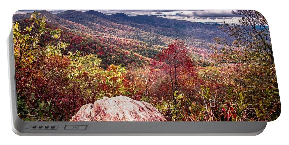 Autumn Portable Battery Charger featuring the photograph Graveyard Fields Overlook In The Smoky Mountains In North Caroli by Alex Grichenko