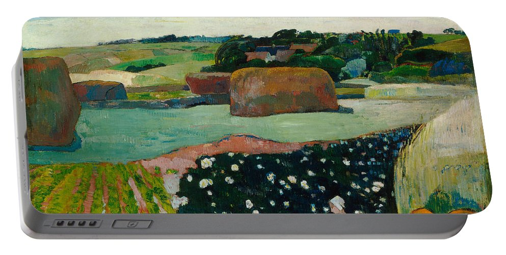 Animal Portable Battery Charger featuring the painting Haystacks In Brittany by Paul Gauguin