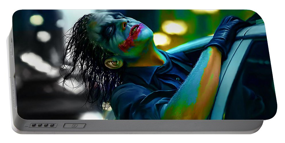 Joker Drawings Portable Battery Charger featuring the mixed media Heath Ledger by Marvin Blaine