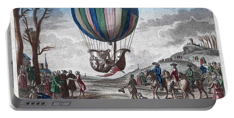 1783 Portable Battery Charger featuring the photograph Hydrogen Balloon, 1783 by Granger