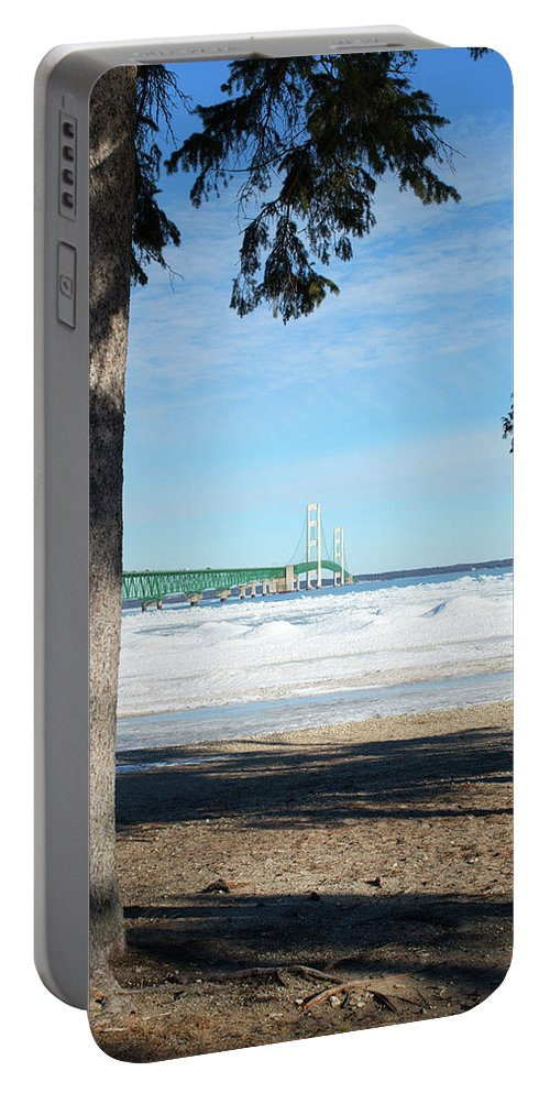 Michigan Portable Battery Charger featuring the photograph Icy by Linda Kerkau