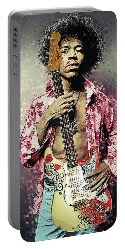 Jimi Hendrix Portable Battery Charger featuring the digital art Jimi Hendrix by Zapista OU