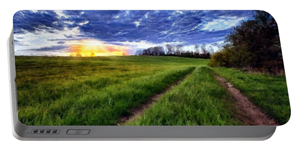 New Portable Battery Charger featuring the digital art Landscape Painting Acrylic by Malinda Spaulding