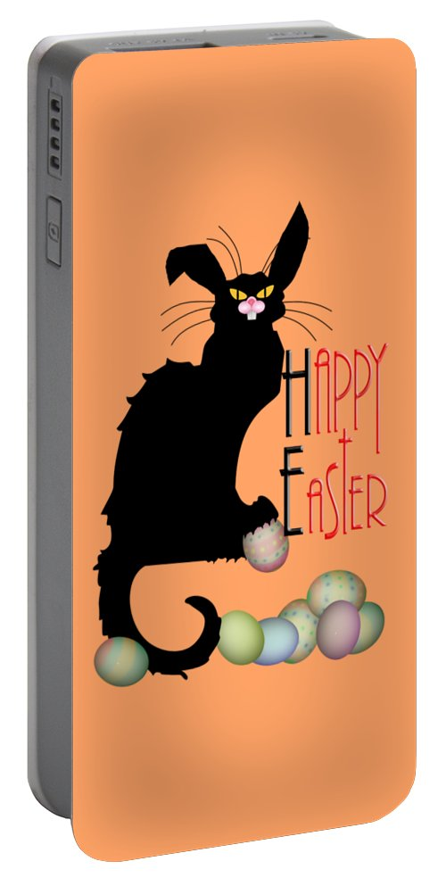 Easter Portable Battery Charger featuring the digital art Le Chat Noir - Easter by Gravityx9 Designs