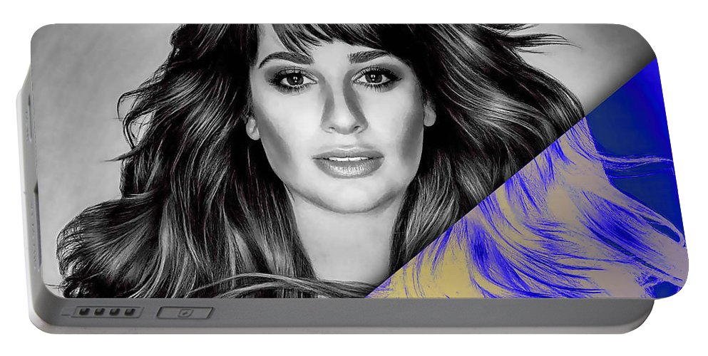Lea Michele Portable Battery Charger featuring the mixed media Lea Michele Collection by Marvin Blaine