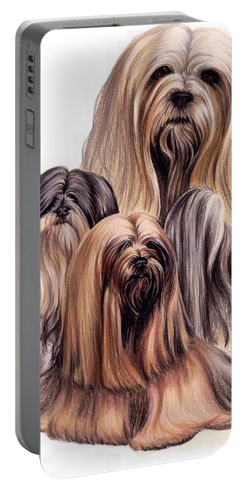 Purebred Portable Battery Charger featuring the drawing Lhasa Apso Triple by Barbara Keith