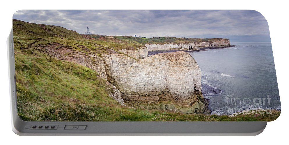Cliffs Portable Battery Charger featuring the photograph Lighthouse And Cliffs by Mariusz Talarek