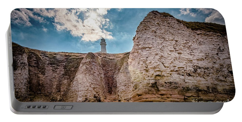 Cliffs Portable Battery Charger featuring the photograph Lighthouse On The Cliff by Mariusz Talarek