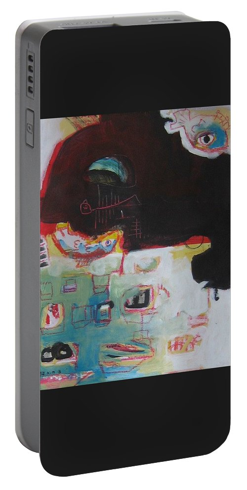 Abstract Paintings Portable Battery Charger featuring the painting Little Bay by Seon-Jeong Kim