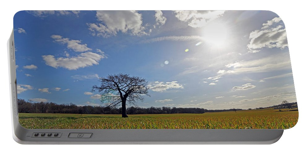 Lone Oak Tree In English Countryside Portable Battery Charger featuring the photograph Lone Oak Tree In English Countryside by Julia Gavin