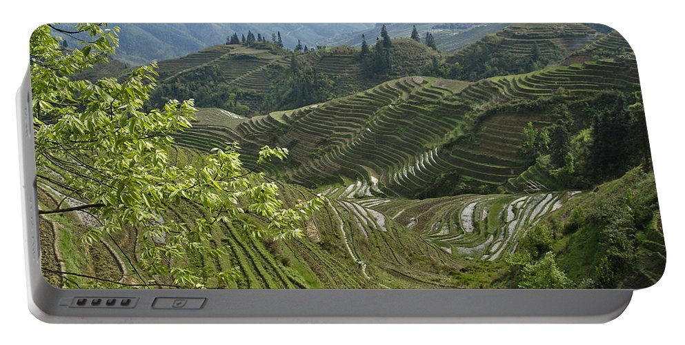 Asia Portable Battery Charger featuring the photograph Longsheng Rice Terraces by Michele Burgess