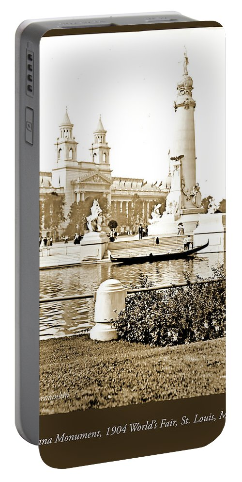 1904 Portable Battery Charger featuring the photograph Louisiana Monument, 1904 World's Fair by A Gurmankin