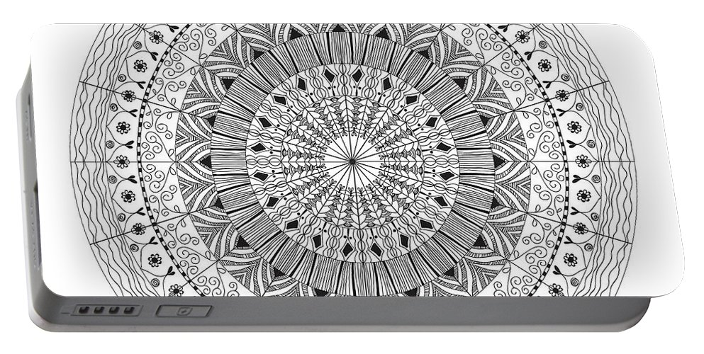 Art Portable Battery Charger featuring the drawing Mandala by Chanitsirikarn Na Chiangmai