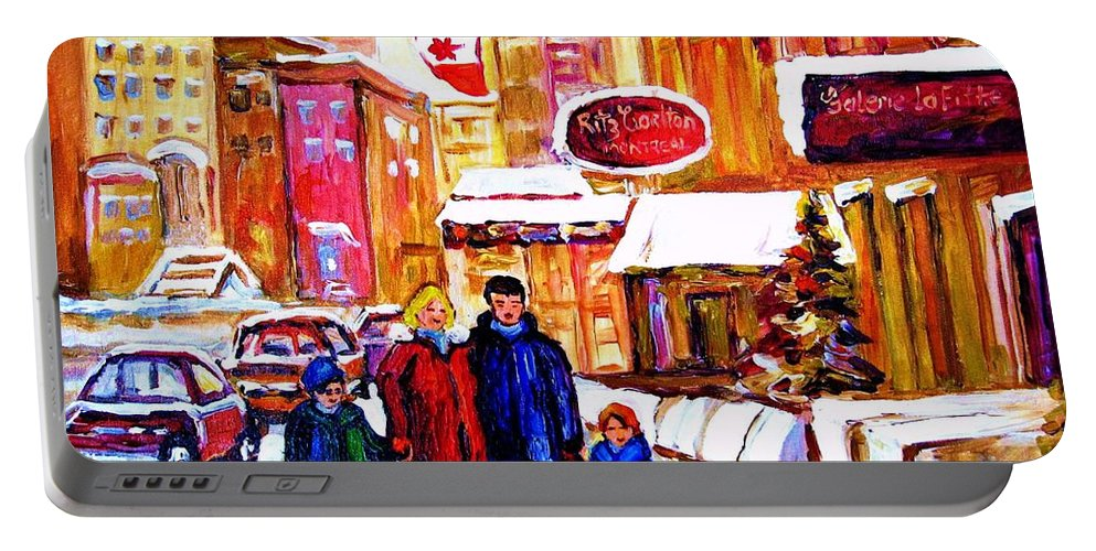 Montreal Portable Battery Charger featuring the painting Montreal Street In Winter by Carole Spandau