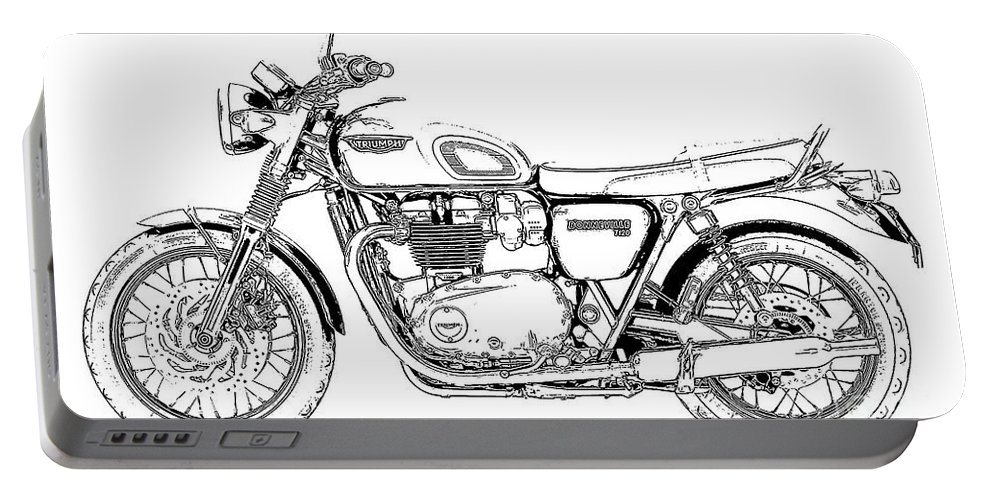 Motorcycle Art Portable Battery Charger featuring the drawing Motorcycle Art, Black And White by Drawspots Illustrations